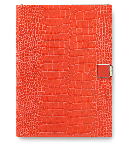 SMYTHSON Soho 2017-2018 mid-year crocodile-embossed leather diary 19cm (Poppy
