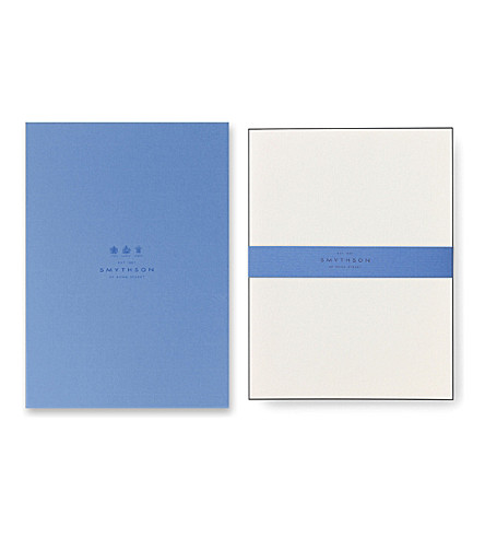 SMYTHSON Bordered kings writing paper (Black