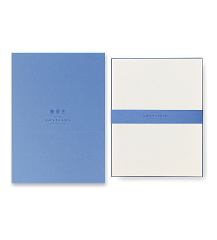 SMYTHSON Bordered Kings writing paper (Navy