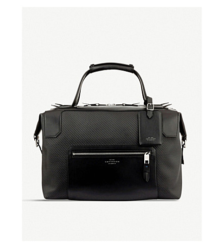 SMYTHSON Greenwich medium canvas and leather holdall (Black