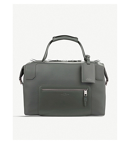 SMYTHSON Greenwich medium canvas and leather holdall (Granite