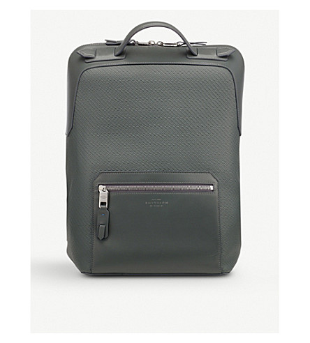 SMYTHSON Greenwich large leather backpack (Granite