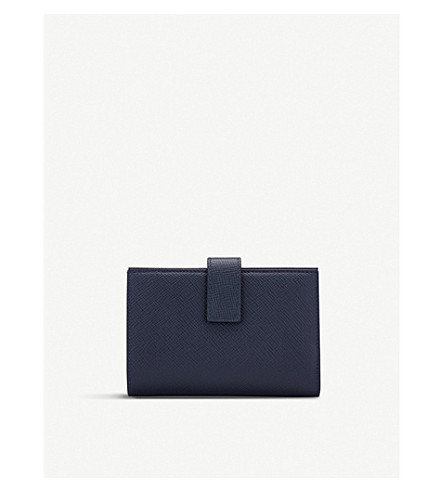 SMYTHSON Panama small cross-grain leather continental purse (Navy