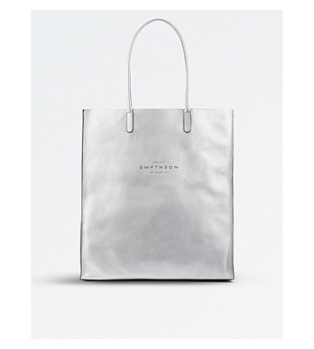 SMYTHSON Kingly leather tote (Silver