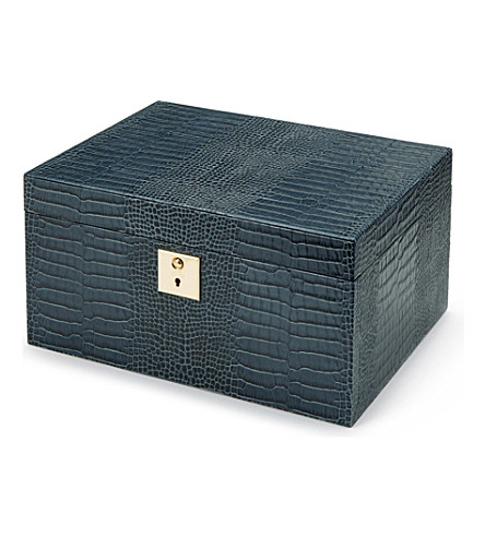 SMYTHSON Mara 3 drawer leather jewellery box (Storm+blue