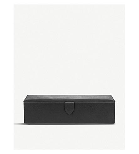 SMYTHSON Grosvenor leather watch box (Black