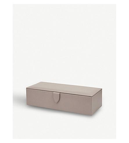 SMYTHSON Grosvenor leather watch box (Dove+grey