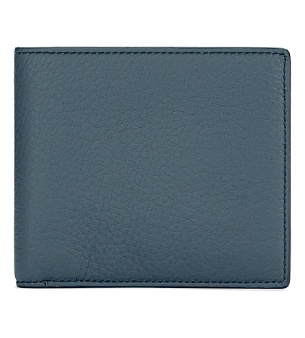 SMYTHSON Burlington leather six card wallet (Storm+blue