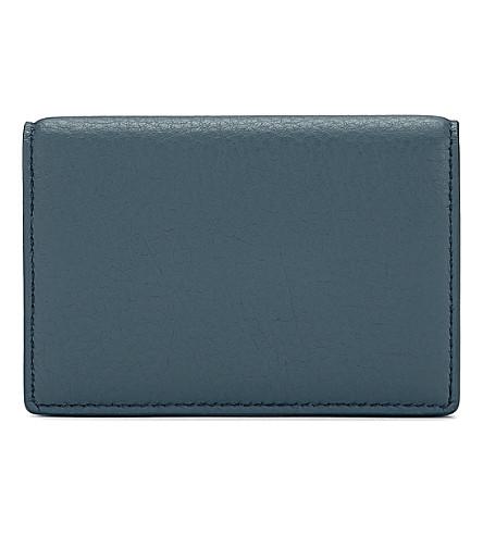 SMYTHSON Burlington leather card case (Storm+blue