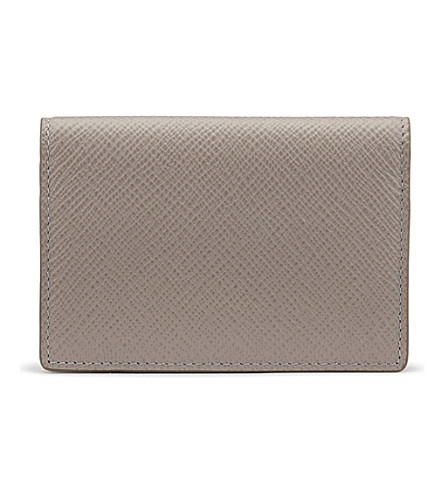 SMYTHSON Panama cross-grain calf leather credit and business card holder (Dove+grey
