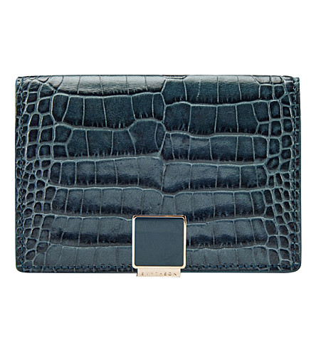 SMYTHSON Mara leather business and credit card (Storm+blue