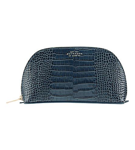 SMYTHSON Mara leather cosmetics case (Storm+blue
