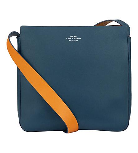 SMYTHSON Compton leather cross-body bag (Storm+blue