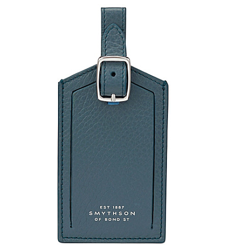 SMYTHSON Burlington leather luggage tag (Storm+blue
