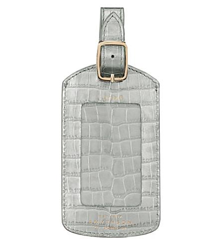 SMYTHSON Mara crocodile-embossed calf leather luggage tag (Silver