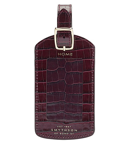 SMYTHSON Mara crocodile-embossed calf leather luggage tag (Winter+berry