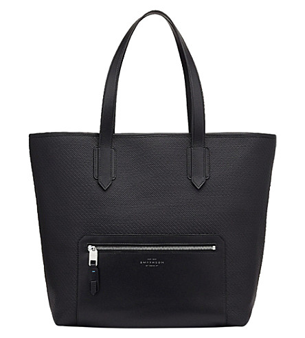 SMYTHSON Greenwich East West canvas and leather tote (Black