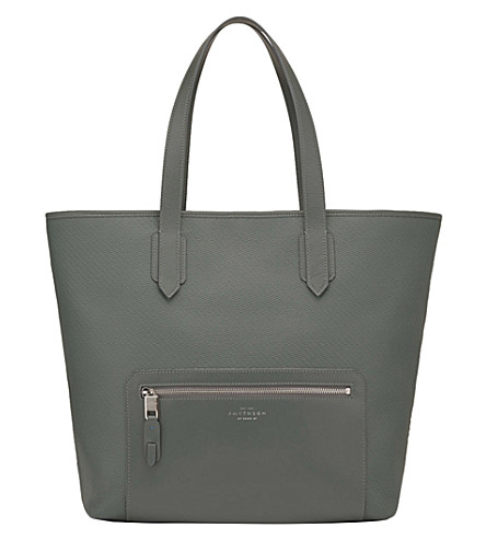 SMYTHSON Greenwich East West canvas and leather tote (Granite