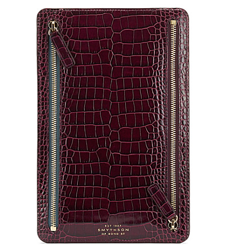 SMYTHSON Mara crocodile-printed calf leather currency case (Winter+berry