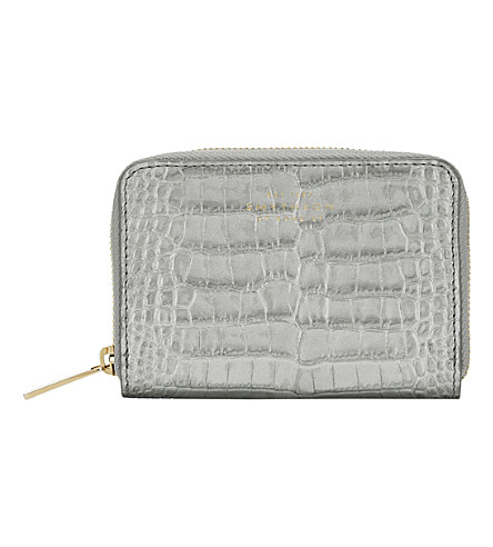 SMYTHSON Mara crocodile-printed calf leather zip coin purse (Silver