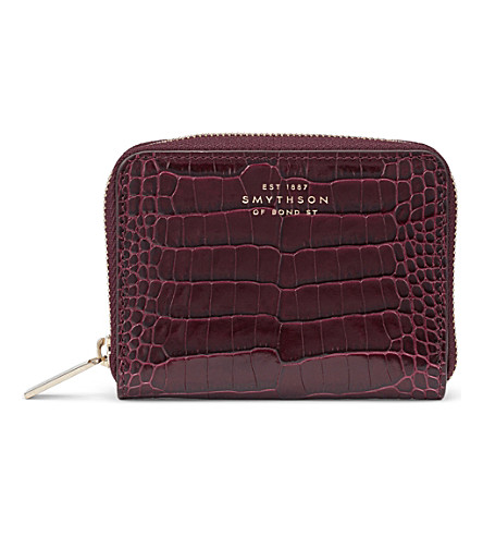 SMYTHSON Mara crocodile-printed calf leather zip coin purse (Winter+berry