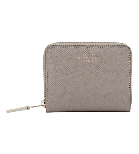 SMYTHSON Panama cross-grain calf leather coin purse (Dove+grey