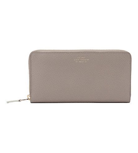 SMYTHSON Panama large zip purse (Dove+grey