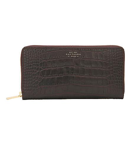 SMYTHSON Mara crocodile-printed calf leather large zip purse (Brown