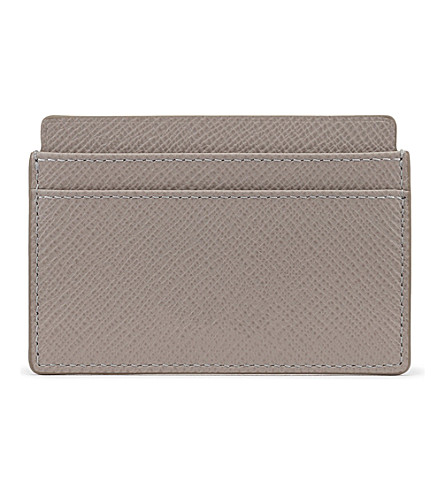 SMYTHSON Panama cross-grain calf leather card holder (Dove+grey