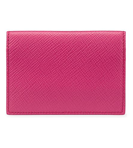 SMYTHSON Panama cross-grain calf leather card case (Fuchsia