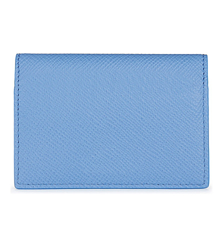 SMYTHSON Panama cross-grain calf leather card case (Nile+blue