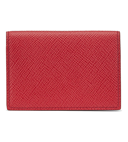 SMYTHSON Panama cross-grain calf leather card case (Red