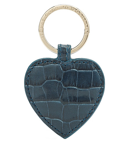 SMYTHSON Mara heart leather keyring (Storm+blue