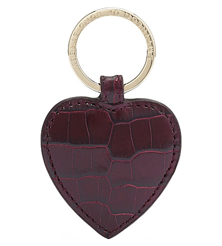 SMYTHSON Mara heart leather keyring (Winter+berry