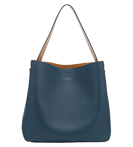 SMYTHSON Compton leather hobo bag (Storm+blue