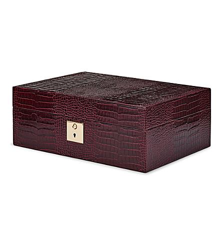 SMYTHSON Mara jewellery box with travel tray (Winter+berry