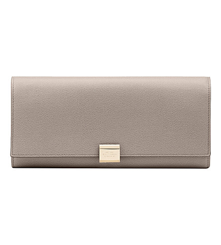 SMYTHSON Grosvenor large leather jewellery roll (Dove+grey