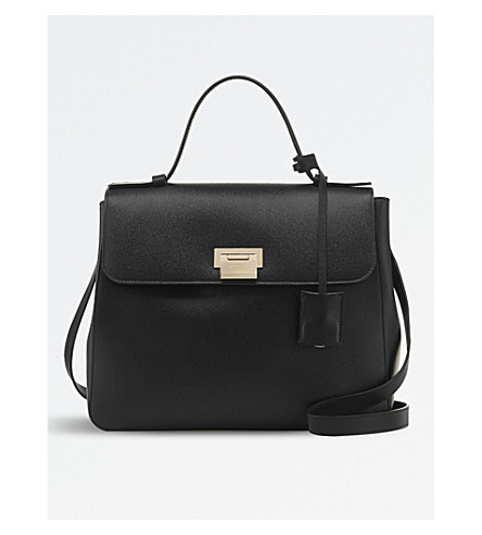 SMYTHSON Grosvenor top handle leather bag (Black