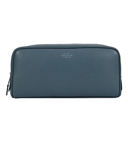 SMYTHSON Burlington large leather wash bag (Storm+blue