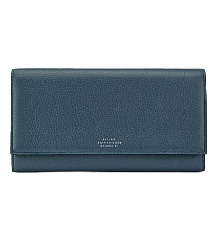 SMYTHSON Burlington Marshall leather travel wallet (Storm+blue