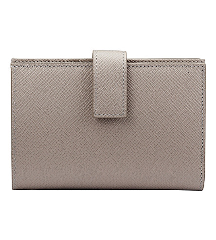 SMYTHSON Panama cross-grain calf leather small continental purse (Dove+grey