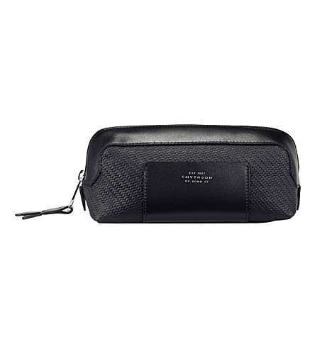 SMYTHSON Greenwich small canvas and leather pouch (Black