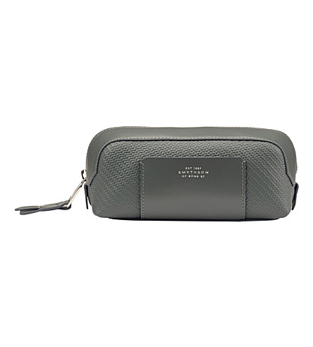 SMYTHSON Greenwich small canvas and leather pouch (Granite