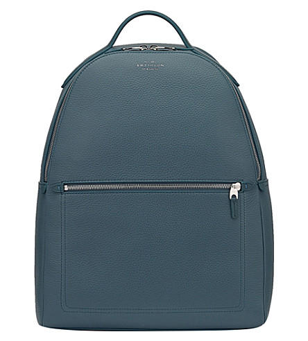 SMYTHSON Burlington small grained leather backpack (Storm+blue