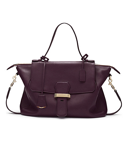 SMYTHSON Berkeley leather handbag (Winter+berry