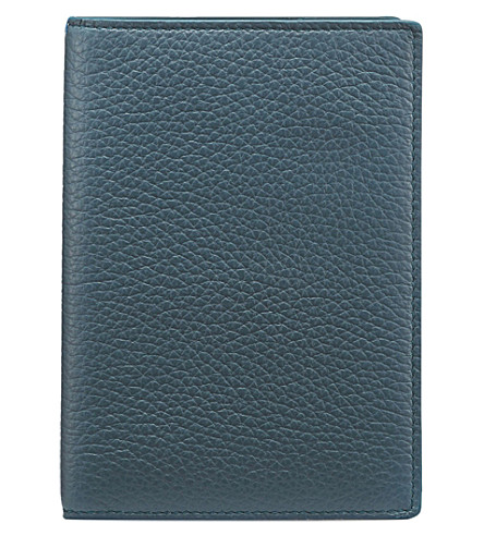 SMYTHSON Burlington leather passport cover (Storm+blue