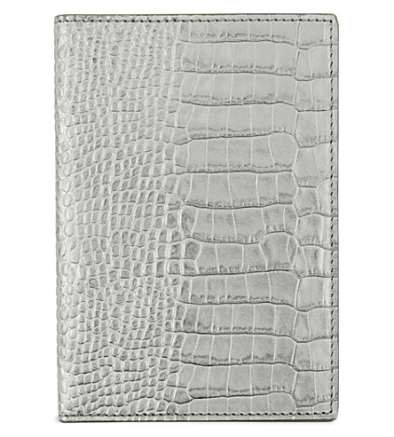 SMYTHSON Mara leather passport cover (Silver