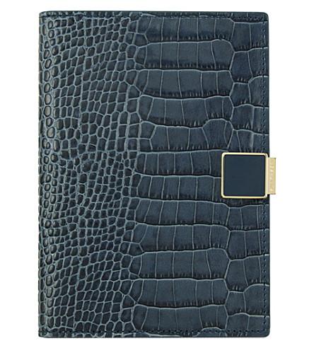 SMYTHSON Mara crocodile-printed calf leather passport holder (Storm+blue