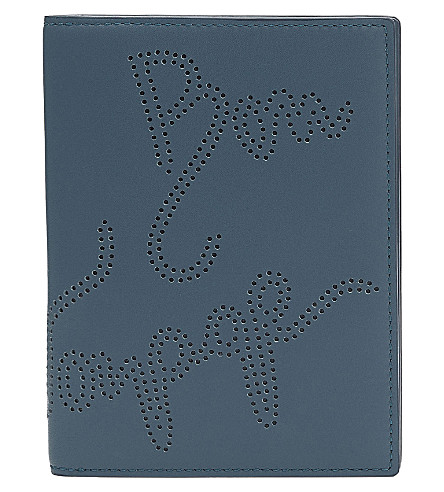 SMYTHSON Piccadilly passport cover and card case (Storm+blue