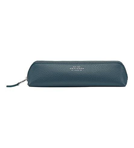 SMYTHSON Burlington leather pencil case (Storm+blue